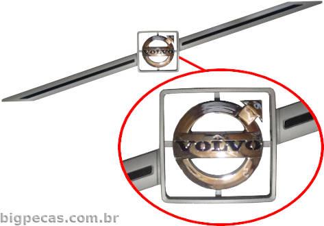 EMBLEMA CINZA DA GRADE DO CAPÔ VOLVO FH/FM (2004 ATÉ 2009)