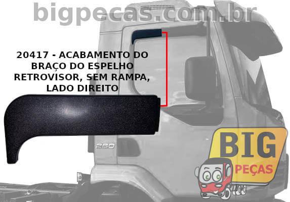 ACABAMENTO SUPERIOR LATERAL DO BRAÇO DO ESPELHO VOLVO VM - (imagem meramente ilustrativa)