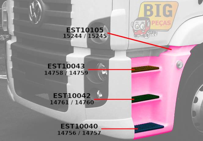 1º PISANTE DO ESTRIBO DE 3 DEGRAUS VW CONSTELLATION TETO ALTO - (imagem meramente ilustrativa)