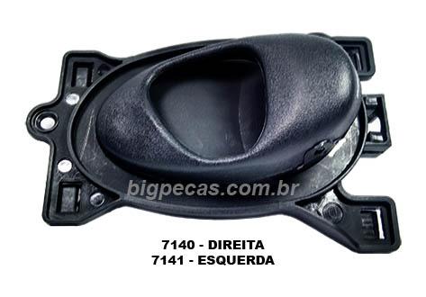 MAÇANETA INTERNA PORTA DIANT./TRAS. COMPLETA PRETA CELTA (2000 ATÉ 2006)